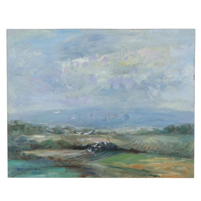 Nino Pippa Tuscan Landscape Oil Painting of Florence Skyline with Seagulls, 2012
