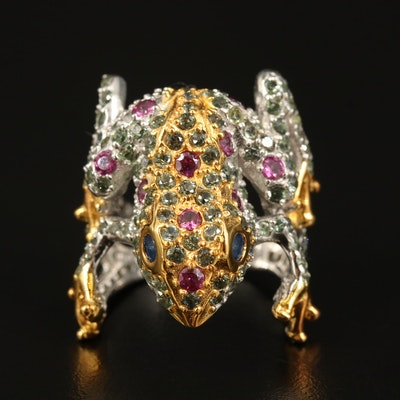 Sterling Sapphire and Rhodolite Garnet Frog Ring