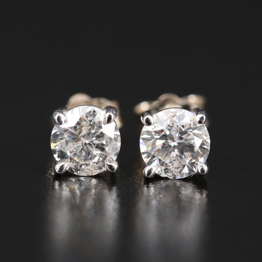 14K 1.09 CTW Diamond Stud Earrings