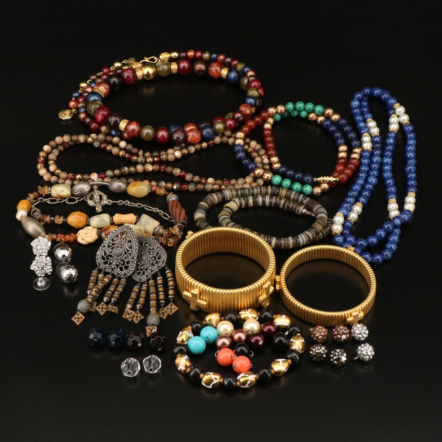 Vintage Kenneth Jay Lane Interchangeable Earring Set and Other Assorted Jewelry