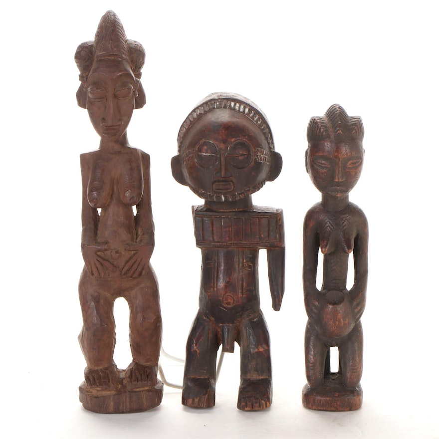 Tabwa, Central, and West African Style Wood Figures