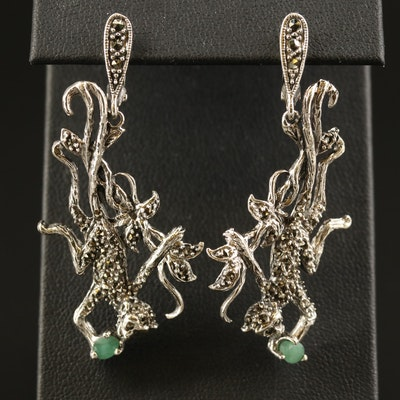 Sterling Silver Marcasite Monkey Dangle Earrings with Emerald Accents