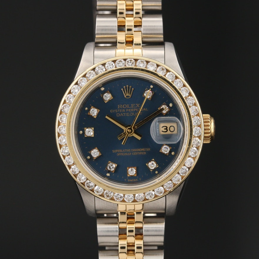 1986 Rolex Datejust 1.24 CTW Diamond, 18K Gold and Stainless Steel Wristwatch