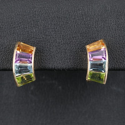 14K Amethyst, Citrine, Topaz and Peridot Earrings