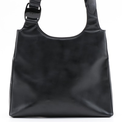Salvatore Ferragamo Black Vinyl Shoulder Bag