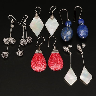 Sterling Silver Earrings Featuring Mother of Pearl and Lapis Lazuli