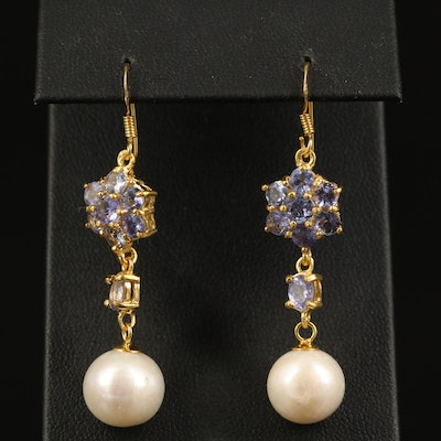 Sterling Silver Tanzanite and Pearl Dangle Earrings