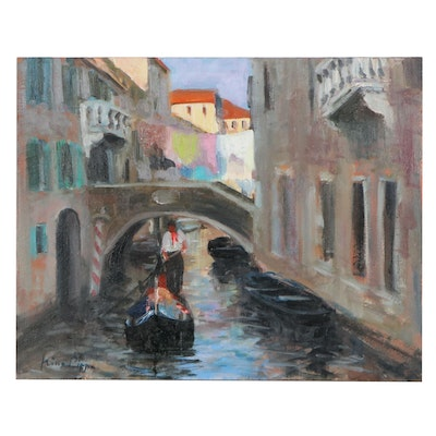 "Nino Pippa Oil Painting ""Venice - Side Canal,"" 2016"