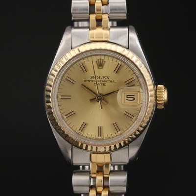 1982 Rolex Date 18K Gold and Stainless Steel Automatic Wristwatch