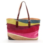 Coach Gallery Wave Suede and Patent Leather Tote