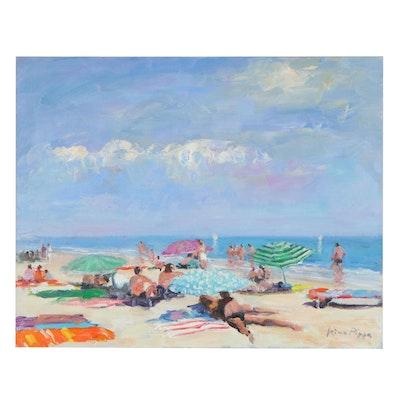 "Nino Pippa Oil Painting ""French Riviera - Saint Tropez Beach Scene,"" 2012"