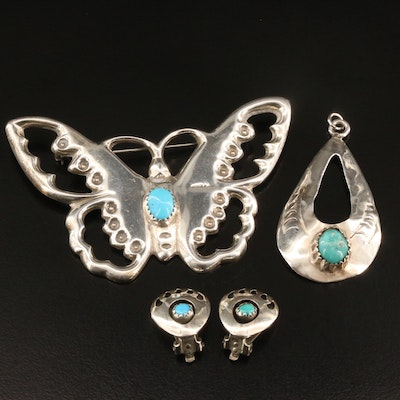Sadie Randolph Navajo Diné Turquoise Butterfly Brooch with Pendant and Earrings