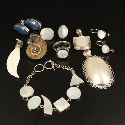 Selection of Sterling Jewelry with Ammonite, Mother of Pearl and Bone