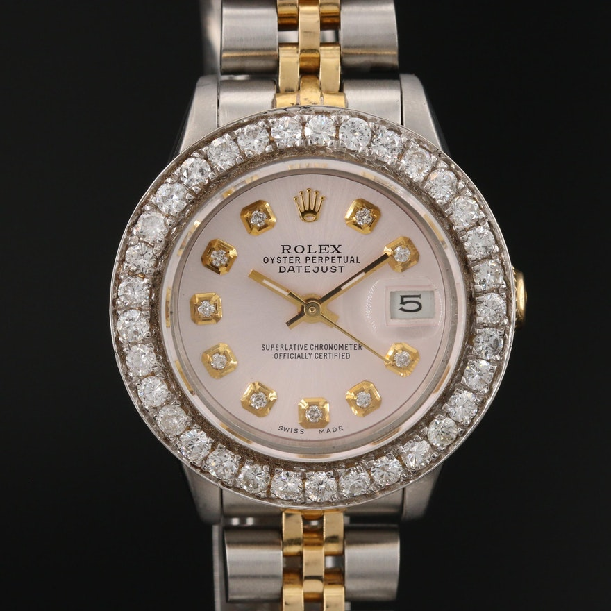 Rolex Datejust Gold and Stainless Steel 1.58 CTW Diamond Wristwatch