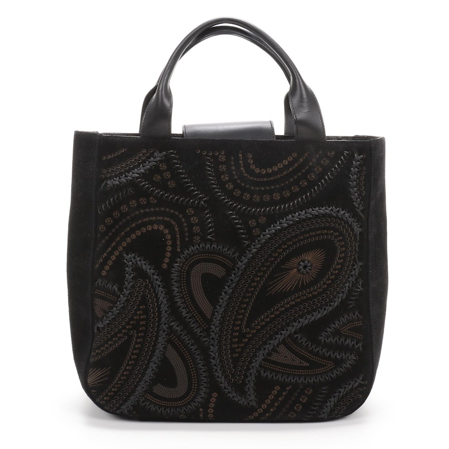 Pibra Suede and Leather Top Handle Bag