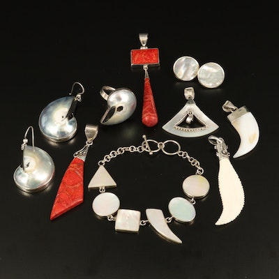 Selection of Sterling Jewelry with Bone, Mother of Pearl and Shell