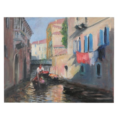 """Nino Pippa Oil Painting """"Venice - Laundry Day,"""" 2017"""