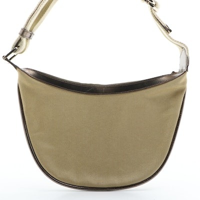 Gucci Metallic Canvas and Leather Web Strap Shoulder Bag