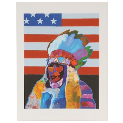 "John Nieto Serigraph ""Indelible Cultural Imprint, or O Say Can You See,"" 1996"
