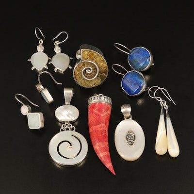 Selection of Sterling Jewelry with Ammonite, Lapis Lazuli and Coral