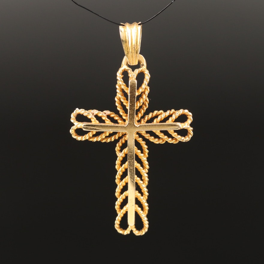 18K Cross Pendant with Rope Accent