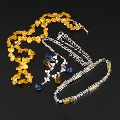 Cubic Zirconia and Glass Bracelet and Necklaces