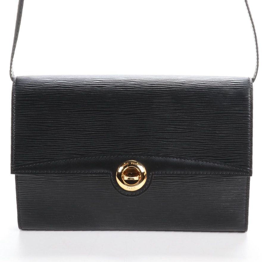 Louis Vuitton Pochette Arche Two-Way Clutch in Black Epi and Smooth Leather