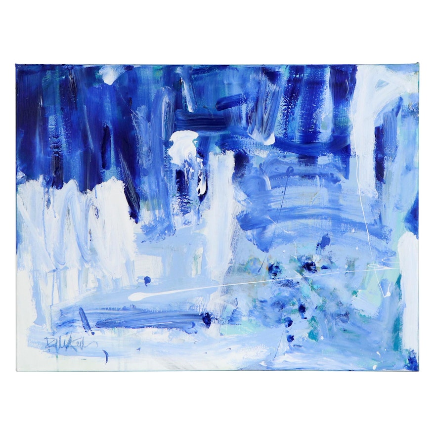 "Robbie Kemper Abstract Acrylic Painting ""Whites & Blues"""