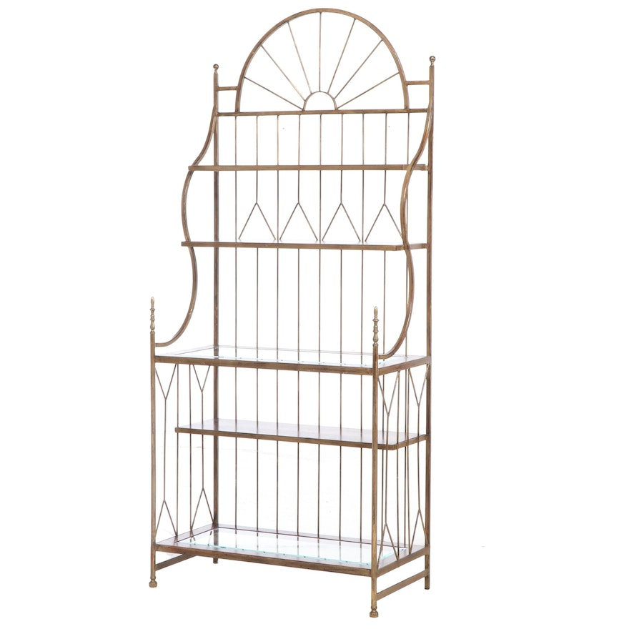 Metal Baker's Rack with Wood and Glass Shelves, Late 20th Century