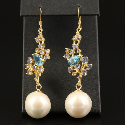 Sterling Topaz, Pearl and Tanzanite Dangle Earrings
