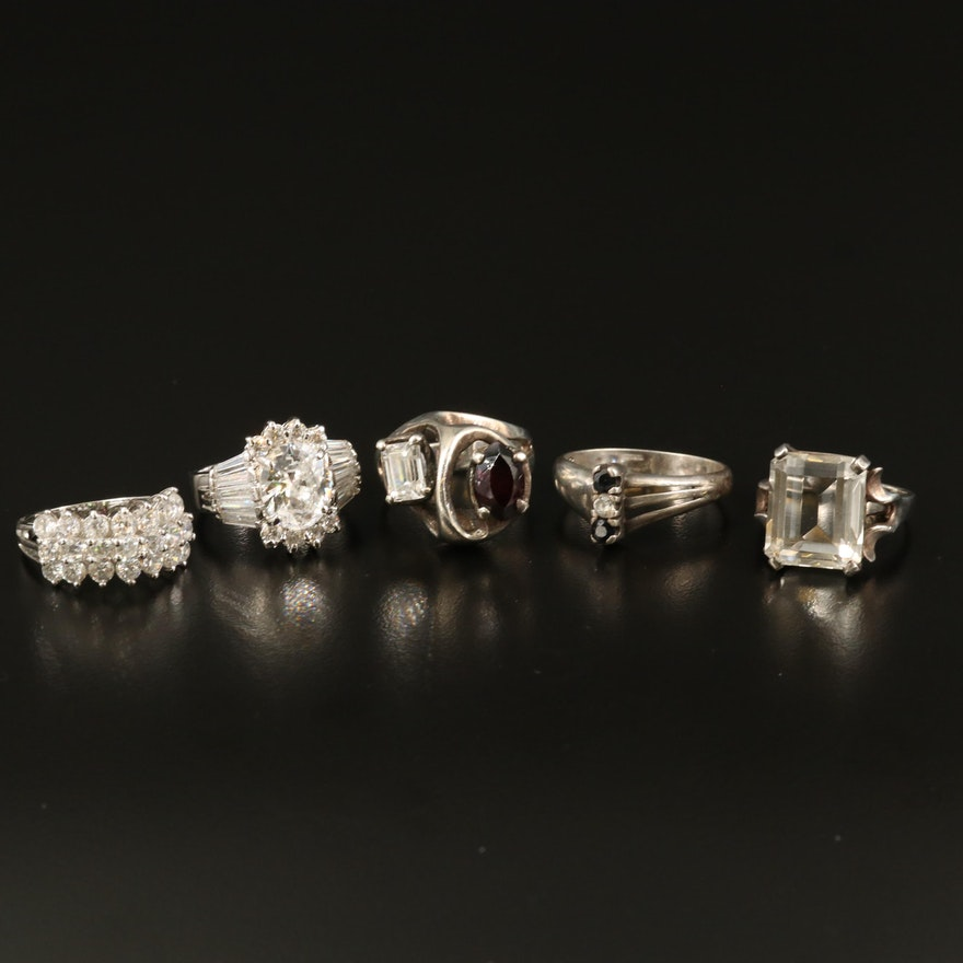 Sterling Rings with Garnet, Sapphire and Cubic Zirconia