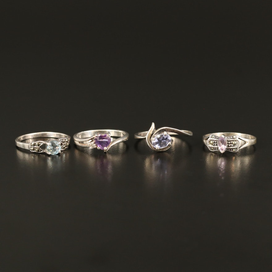 Sterling Silver Rings with Ioilite, Amethyst and Topaz