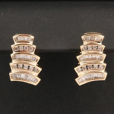 14K Channel Set Diamond Geometric Earrings