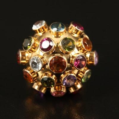 18K Sputnik Ring with Mixed Gemstones