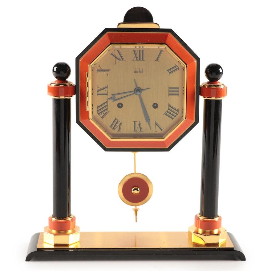 Dunhill Art Deco Style Brass and Enamel Shelf Clock