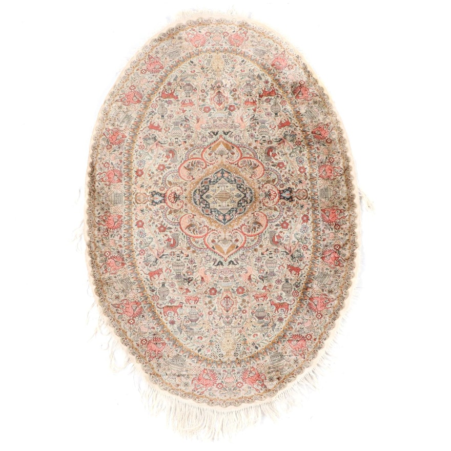 3'0 x 5'7 Hand-Knotted Sino-Persian Tabriz Silk and Wool Pictorial Rug