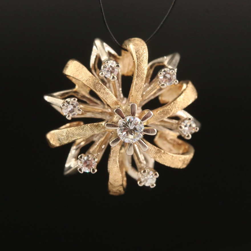 Vintage 14K Two-Tone Diamond Pendant with Florentine Finish