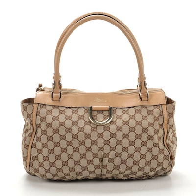 Gucci D-Ring Tote in GG Canvas and Leather