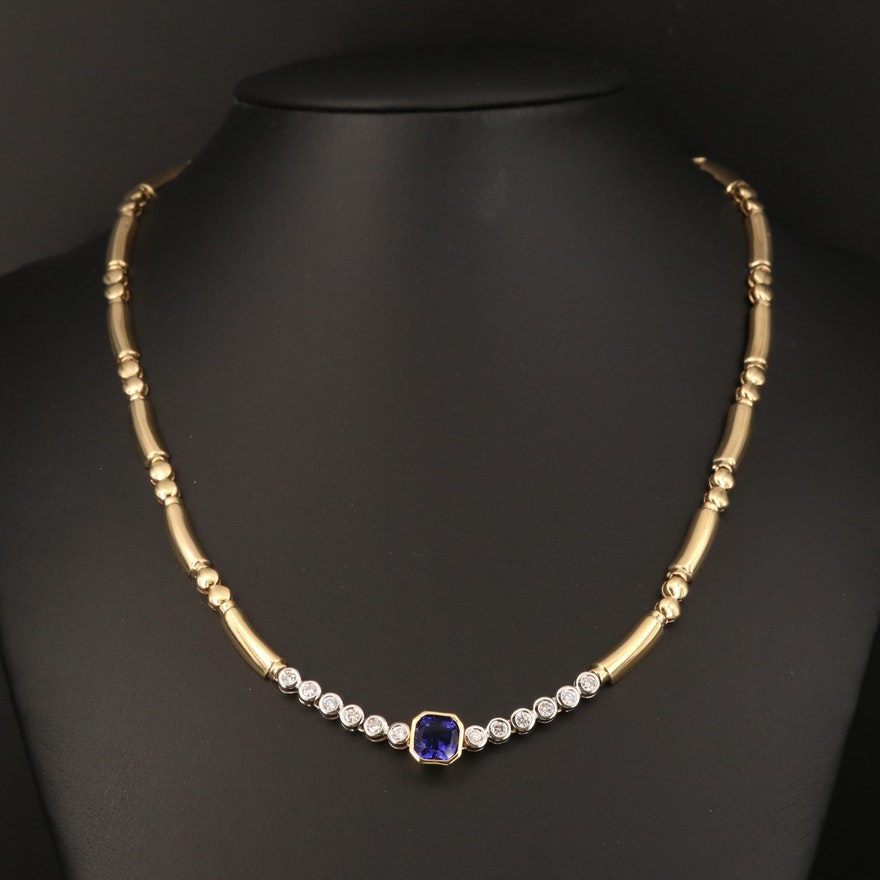 18K Tanzanite and Diamond Necklace