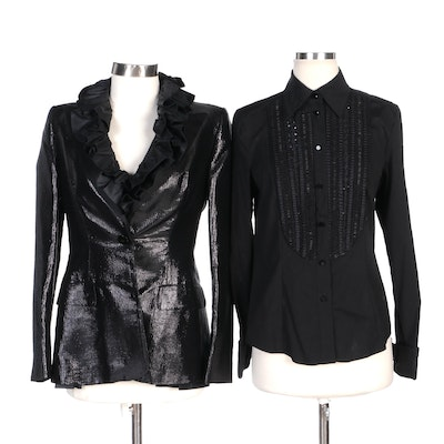Escada Shimmer Jacket with Black Ruffle and Embellished Button-Up Shirts
