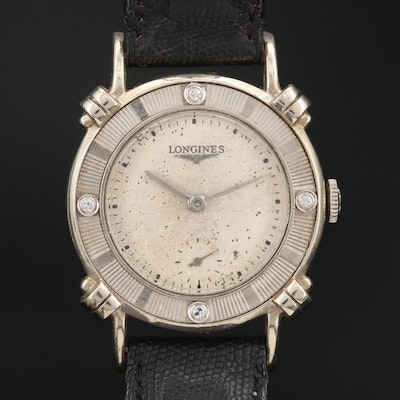 1949 Longines Anniversary 14K White Gold and Diamond Stem Wind Wristwatch