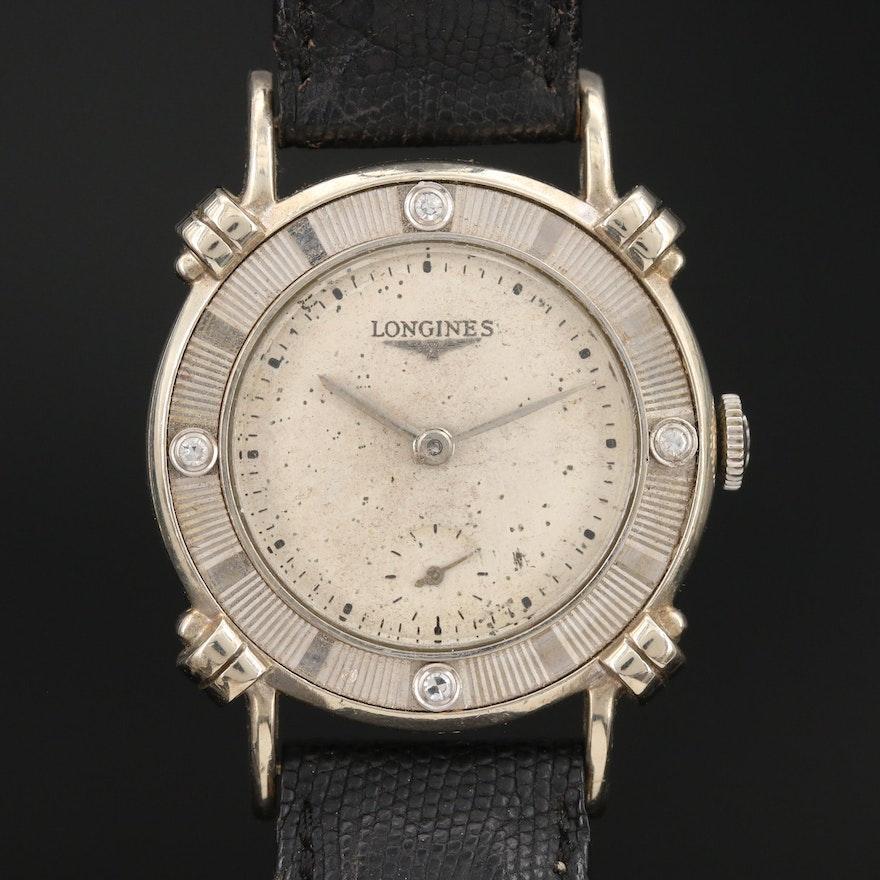 1949 Longines Anniversary 14K White Gold and Diamond Stem Wind Wristwatch