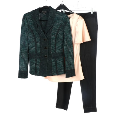 St. John Couture Satin Cowl Neck Blouse and Trousers with St. John Tweed Jacket