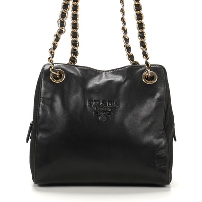 Prada Chain Strap Shoulder Bag in Black Leather and Tessuto Nylon