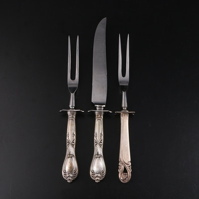 Whiting Sterling Handled Carving Set, Sterling Simpson, Hall, Miller & Co. Fork