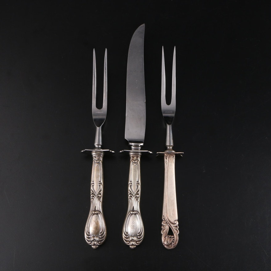 Whiting Sterling Handled Carving Set, Sterling Simpson, Hall, Miller & Co. Fork