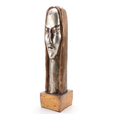 Modernist Gilt and Parcel-Silvered Ceramic Bust, 20th Century