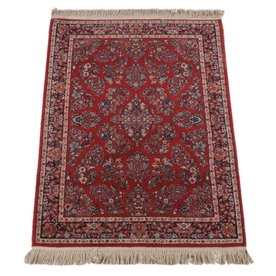 "4'4 x 6'9 Machine Made Karastan ""Red Sarouk"" Wool Area Rug"
