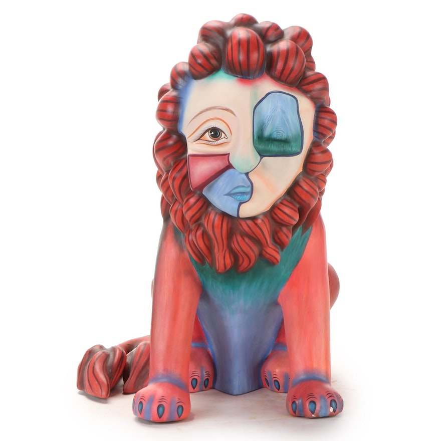 """Alexander Flores Hand-Painted Ceramic Sculpture """"The Lion,"""" Late 20th Century"""