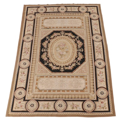 5'11 x 9'2 Handwoven Aubusson Style Wool Rug